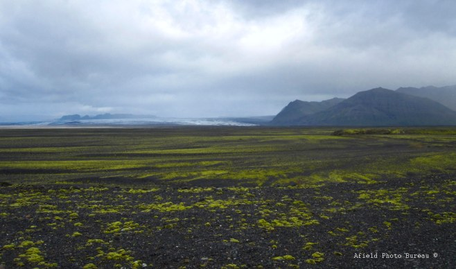A wide expanse of lava gravel with the glacier Skeiðarárjökull in the background.