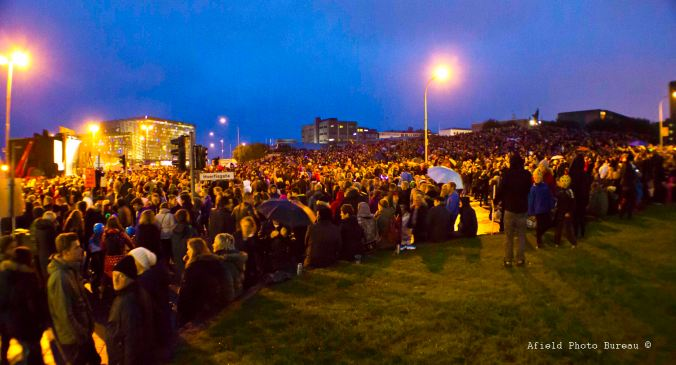 The main stage and approximately 1/3 of the island's population.