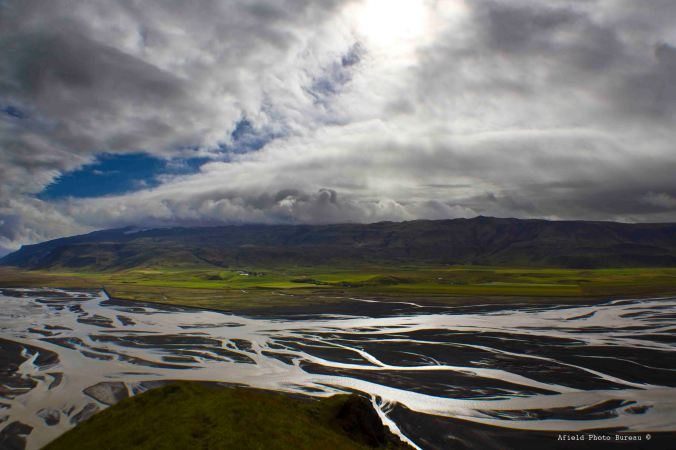 View east of Eyjafjallajokull and the river Markafljot.