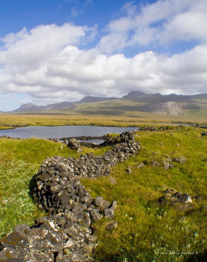 Lava stone wall.
