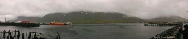 The harbor at Siglufjordur in all its rainy splendor.