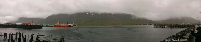 The harbor at Siglufjordur in all its rainy splendor.
