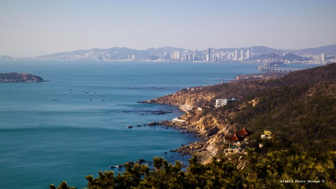 Xinghai Bay from the Binhai Road. I posted a similar photo on Instagram.