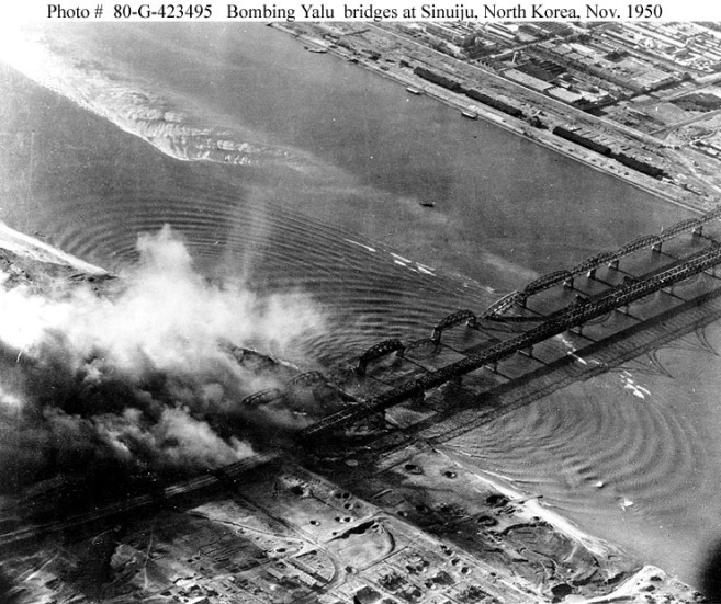 """Bombing of Yalu River Bridges at Sinuiju - Dandong Nov.1950"" by U.S. Navy - Photo"
