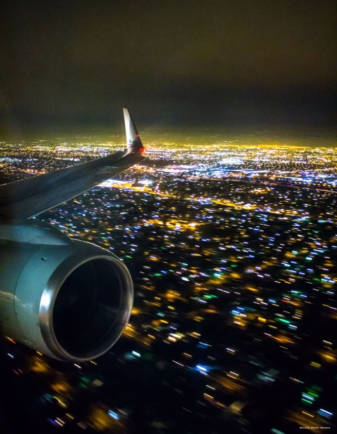 Here is the sprawl of Los Angeles at night on our first leg towards Fiji in 2014.