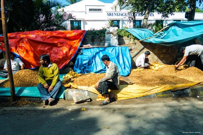 Peanut vendors outside of the Bull Temple - Bangalore.