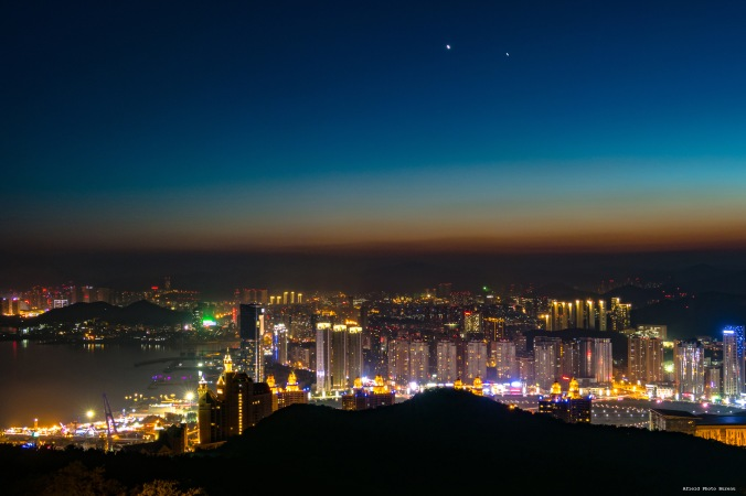 Dalian after sunset seen from Xida Mountain. That was one hell of a dark hike down