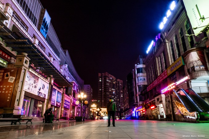 Just me on Tianjin Jie near midnight. The locals don't stay out too late during the cold months...or the warm months.